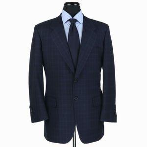 Tom James Royal Classic Wool Suit Blue Checks 42R